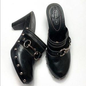 Coach Sutton studded black leather clogs